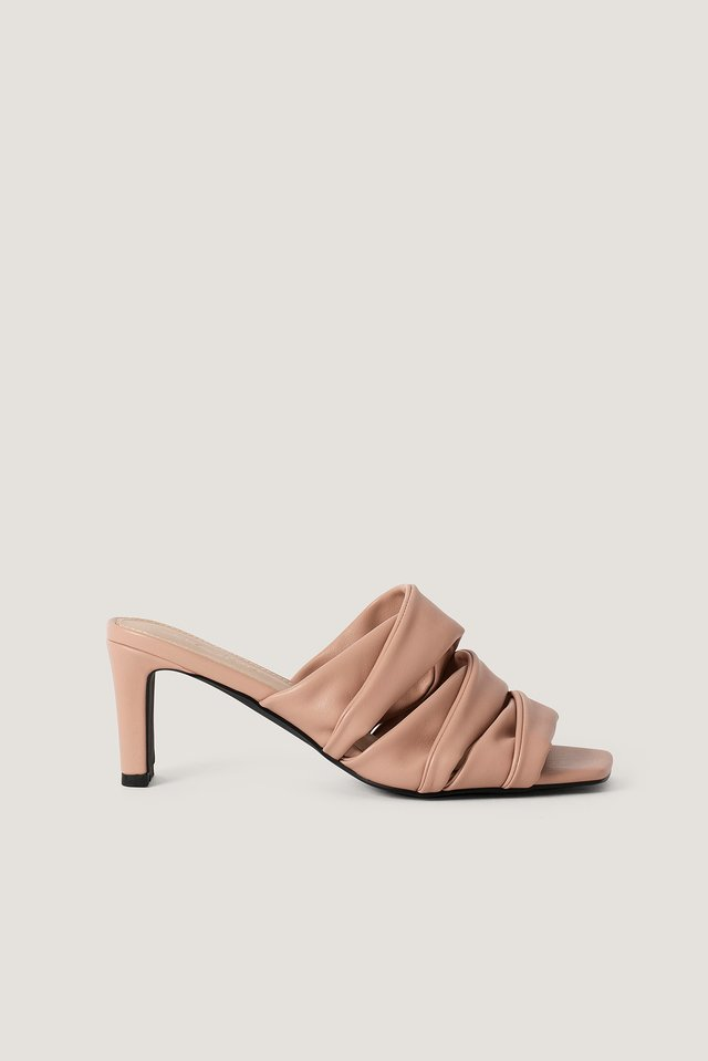 Layered Upper Mules Dusty Pink