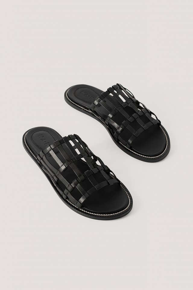 Black Leather Cage Slippers