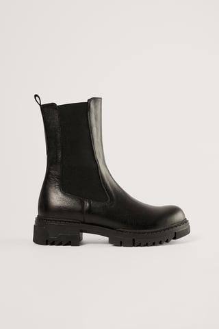 Black Bottines En Cuir