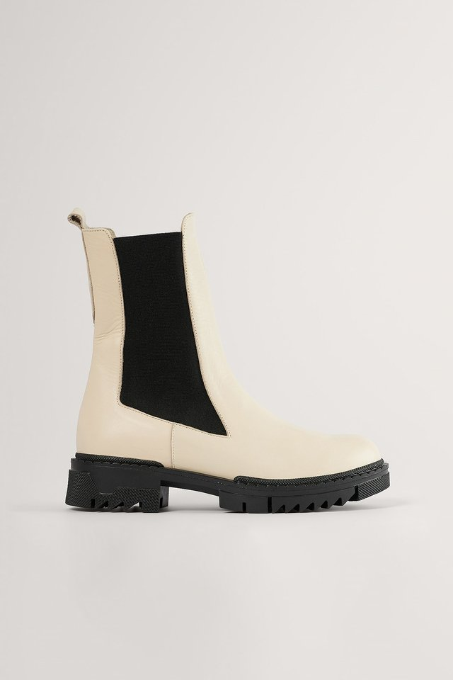 Creme Bottines En Cuir