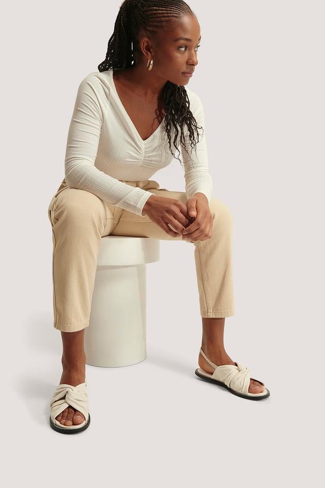 Sandales Nouées En Cuir Avec Couture Natural
