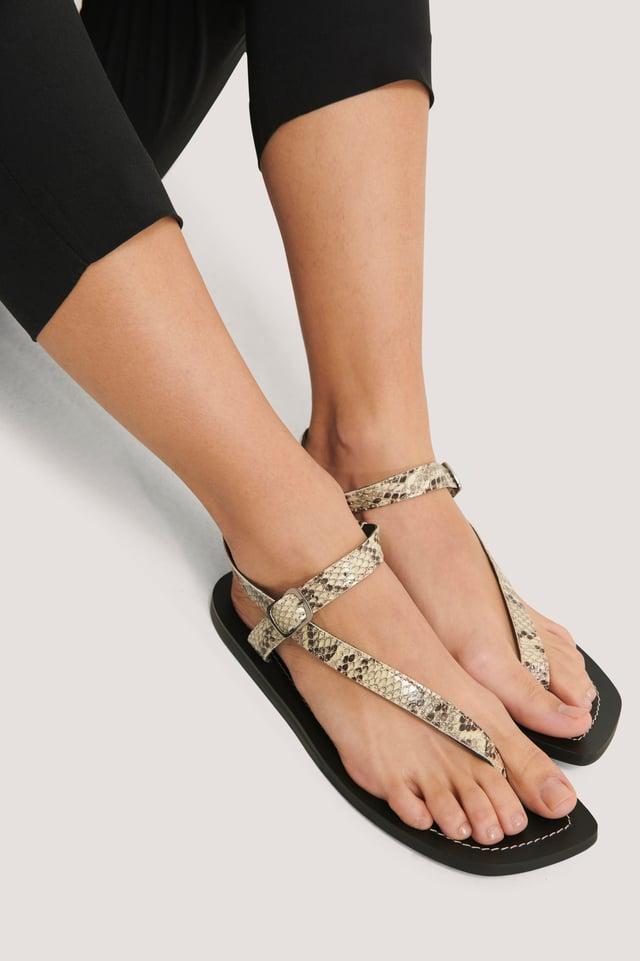 Leather Toe Strap Flats Snake