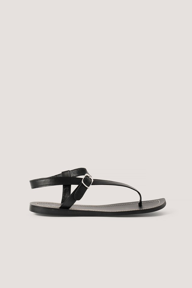 Leather Toe Strap Flats Black