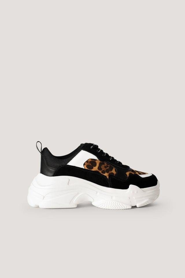 Chunky Sneakers Black Leopard Print
