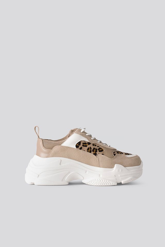 Chunky Sneakers Nude Leopard Suede