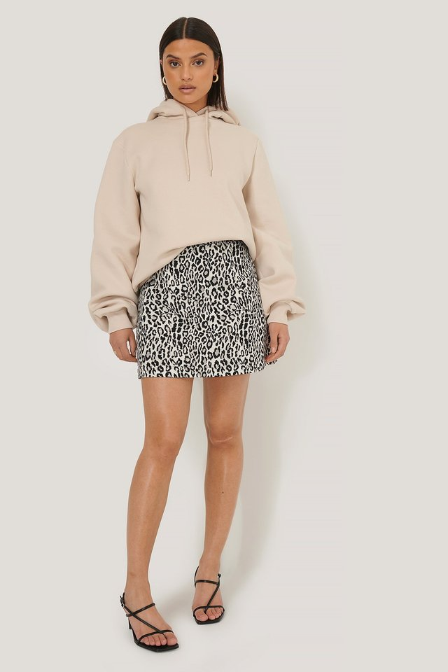 Leopard Print Mini Skirt BLACK  WHITE LEO