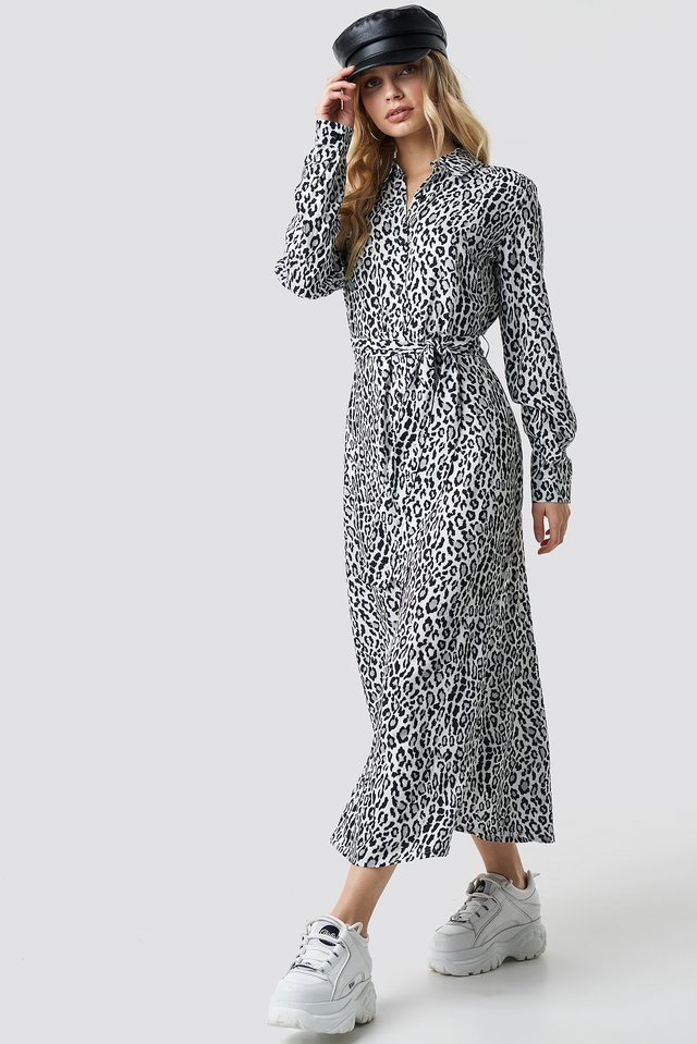 Leopard Printed Shirt Dress Leo White