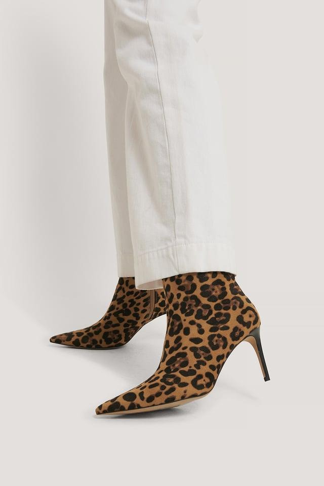 Bottes Talon Aiguille Pointues Fines Leopard