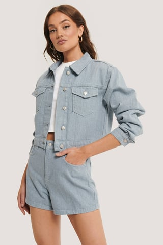 Light Blue Recyclée Veste En Jean