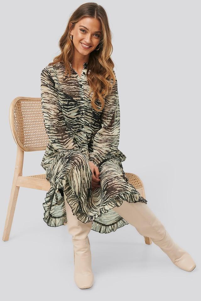 White/Black Light Chiffon Printed Dress