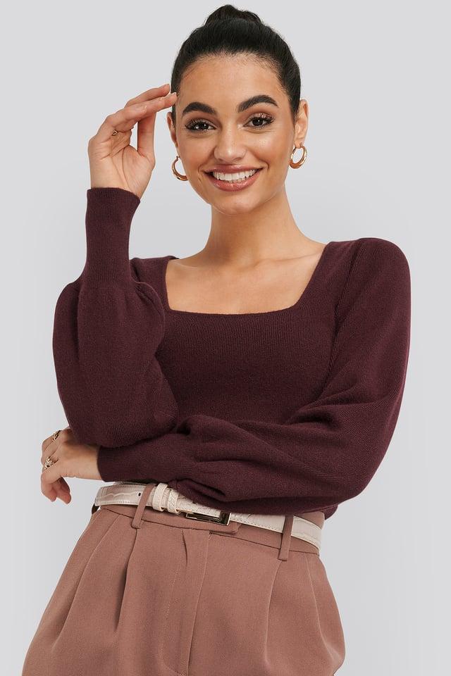 Light Knitted Balloon Sleeve Sweater Burgundy