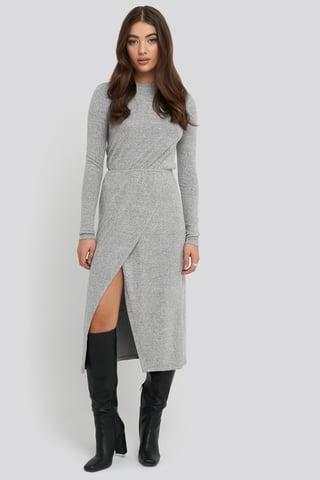 Grey Melange Light Knitted Melange Dress