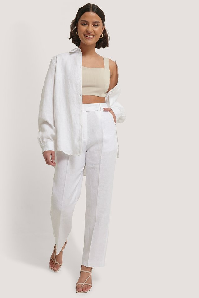 Pantalon En Lin White