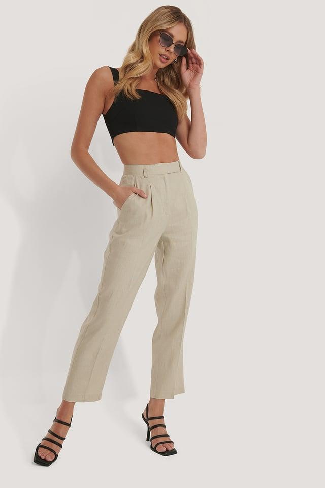 Pantalon En Lin Beige