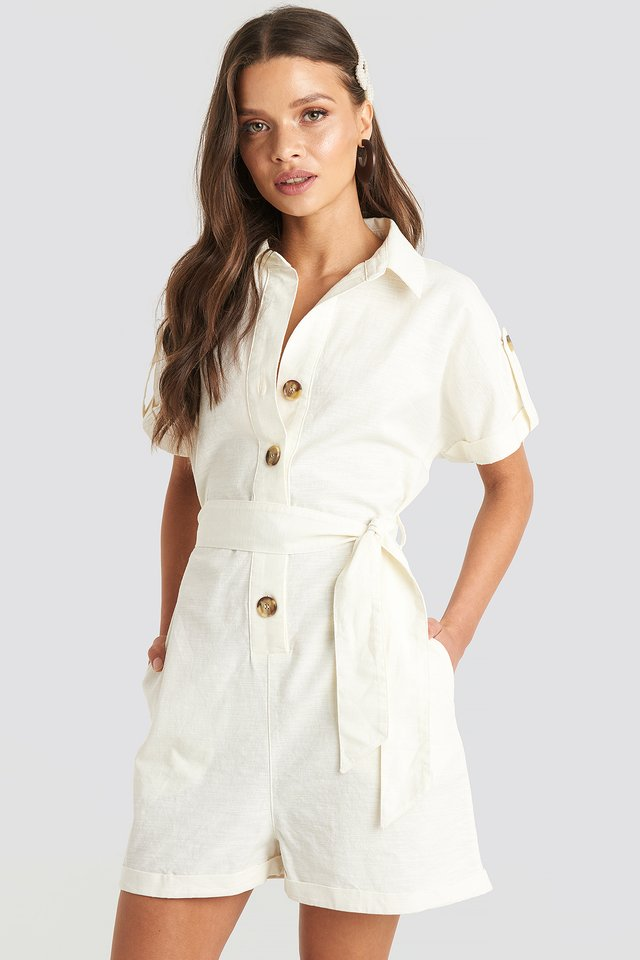 Offwhite Linen Look Buttoned Playsuit