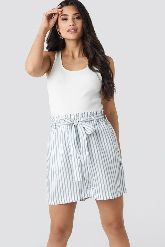 Stripe Print Linen Paper Bag Shorts