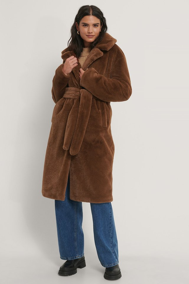 Brown Manteau Ceinturé