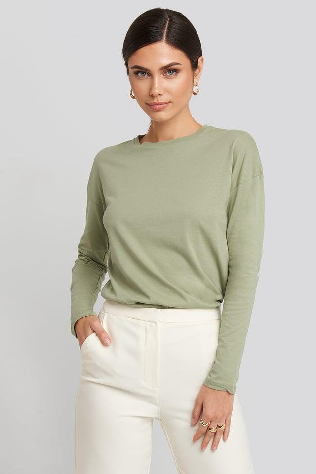 Light Khaki Long Sleeve Basic Top