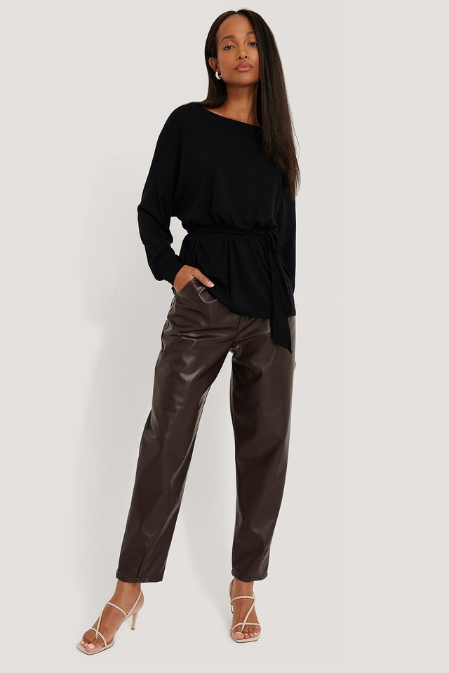 Black Belted Long Sleeve Top
