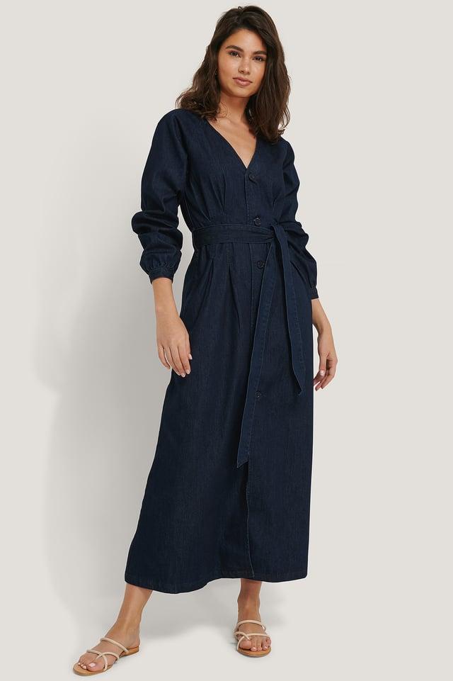 Long Sleeve Denim Dress Dark Blue