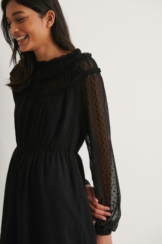 Black Robe À Manches Longues