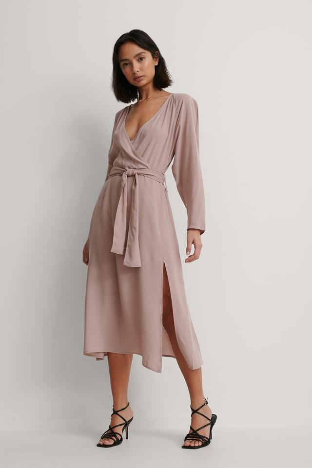 Dusty Pink Robe Cache-Cœur À Manches Longues
