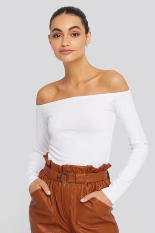 White Long Sleeve Off Shoulder Top