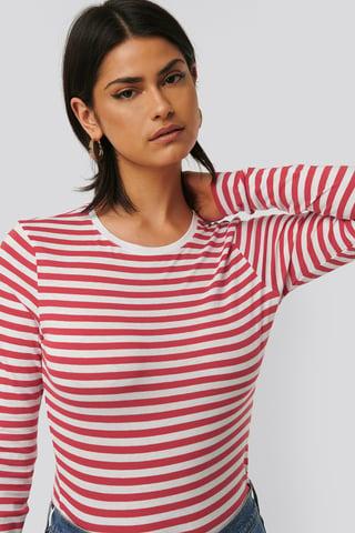 Red/White Tee-Shirt Rayé À Manches Longues