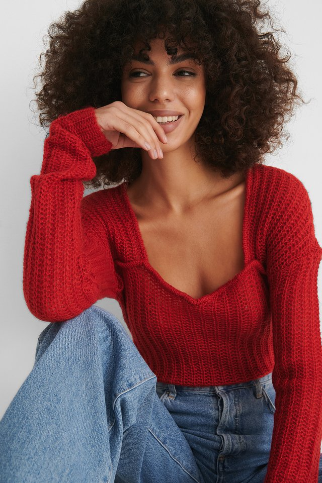 Red Pull En Maille Ample