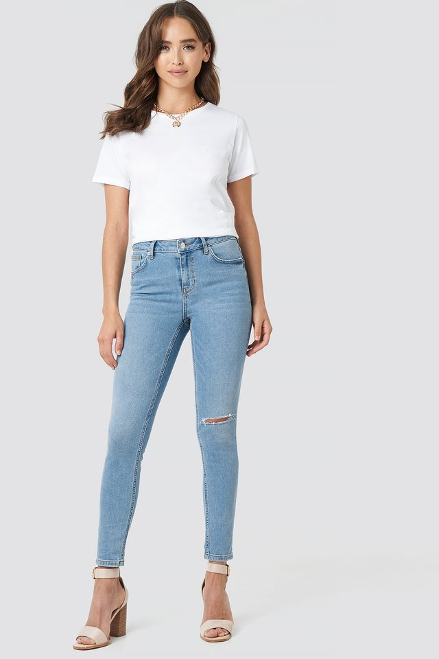 Light Blue Wash Low Rise Distressed Skinny Jeans