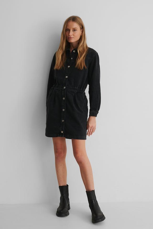 Robe Mini En Jean Black Denim