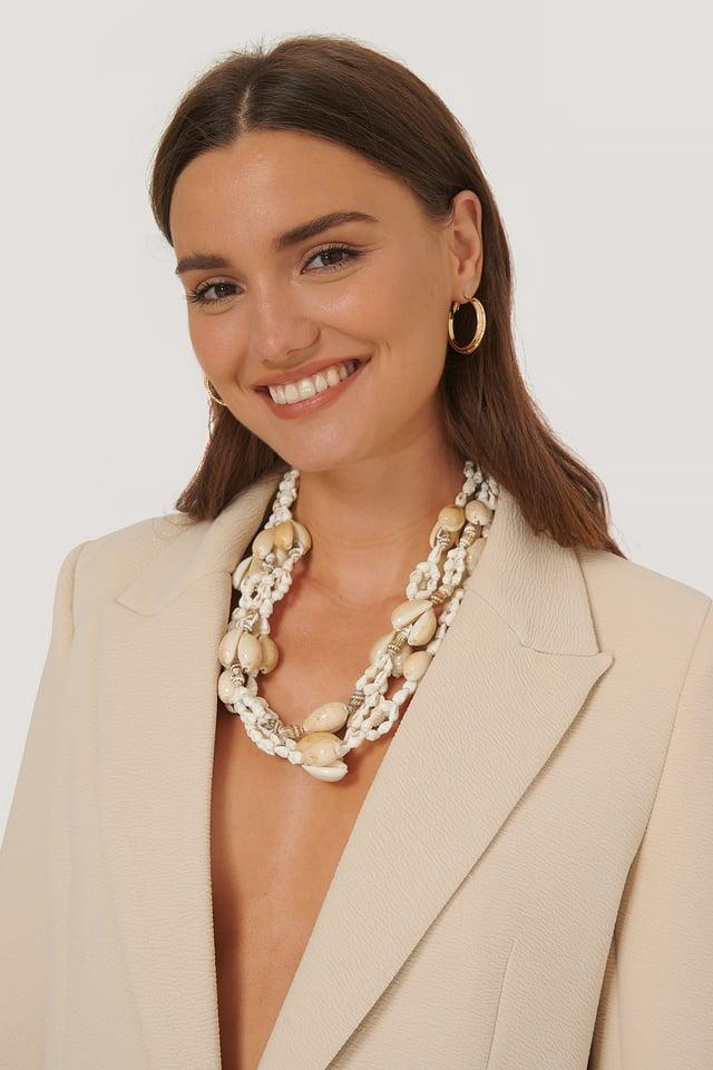 Collier À Perles Et Coquilles Trois Couches White
