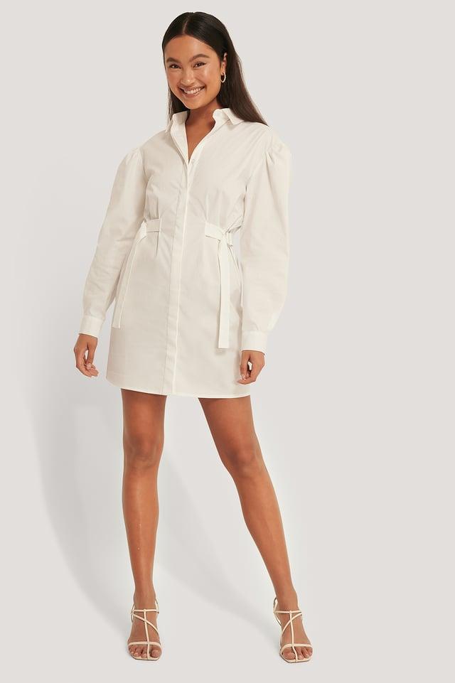 Robe Chemise Surdimensionnée À Taille Marquée White
