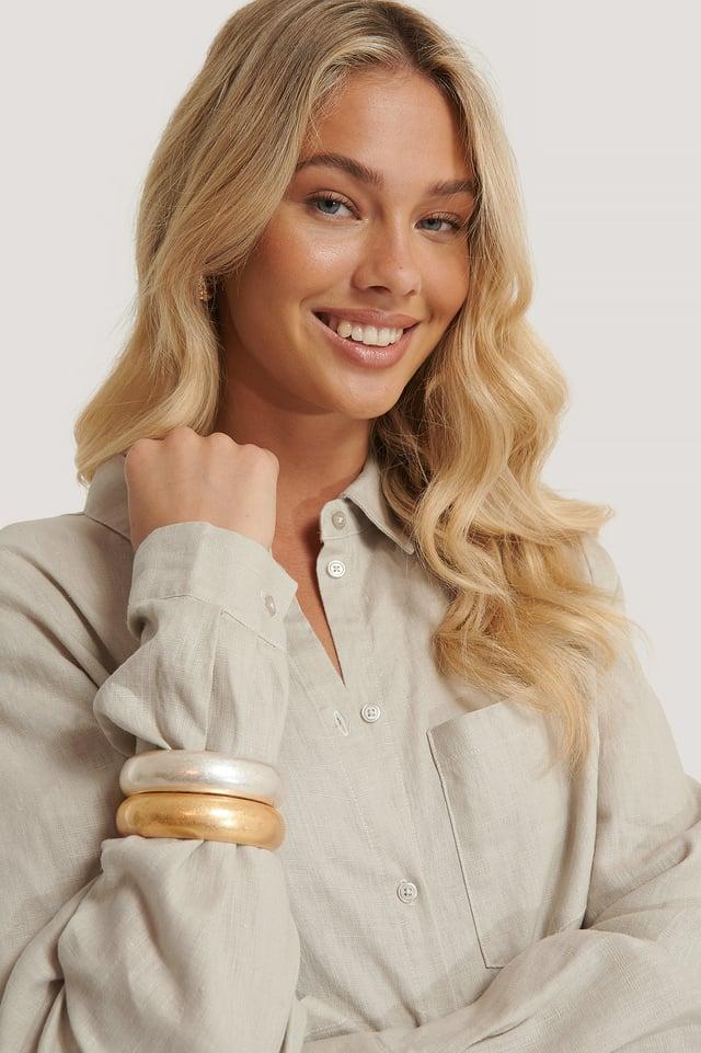 Silver/Gold Bracelets Épais Mats