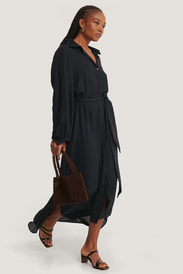Maxi Belted Dress Black