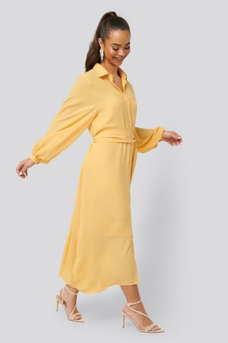 Light Yellow Maxi Belted Dress