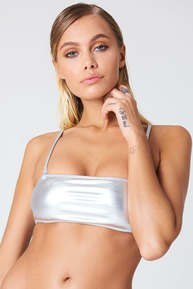 Silver Metallic Bandeau Bikini Top