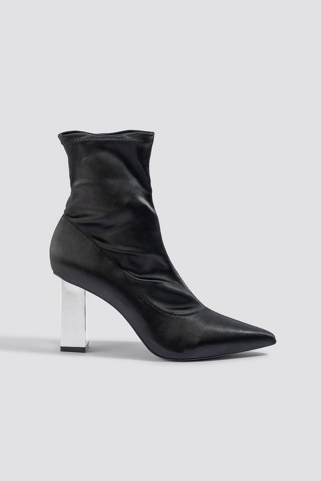 Metallic Block Heel Sock Boots Black