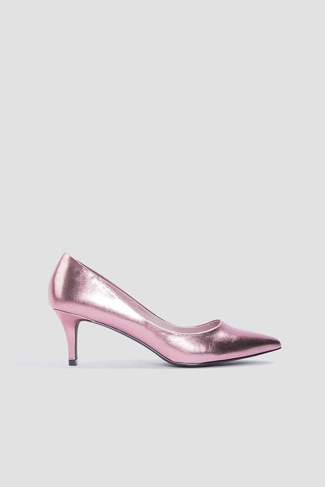 Metallic Mid Heel Pumps Pink
