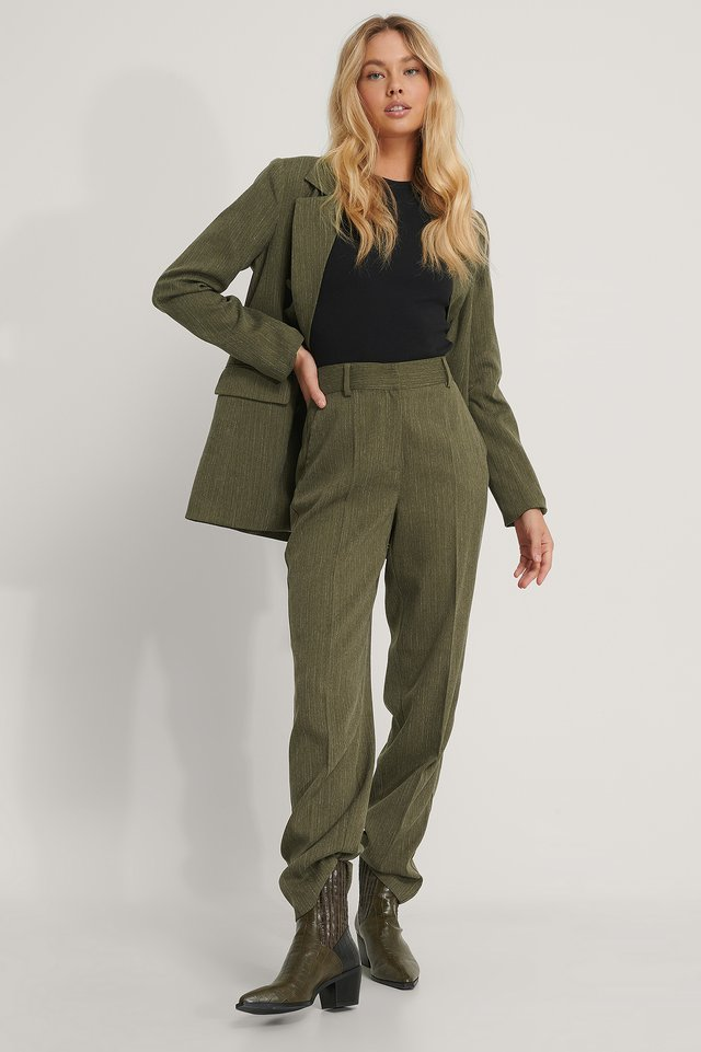 Dark Green Pantalon De Costume