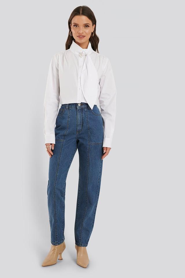 Mid Blue Jean Taille Mi-Haute