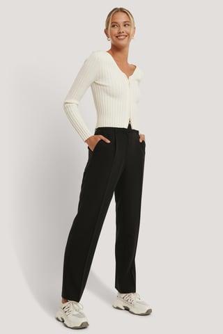 Black Pantalon De Costume Taille Mi-Haute