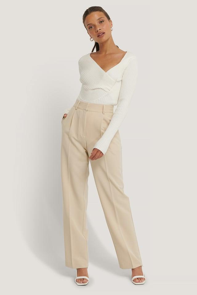 Beige Pantalon De Costume Taille Mi-Haute