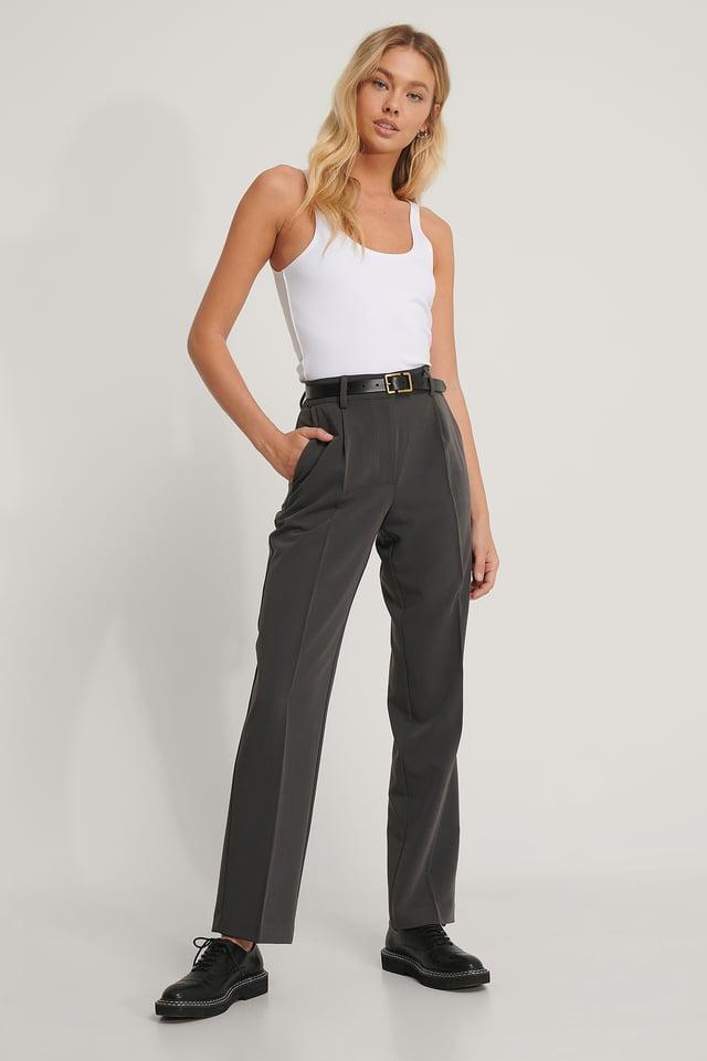 Dark Grey Pantalon De Costume Taille Mi-Haute