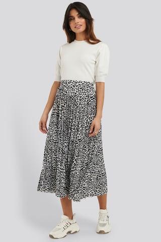 Black/Leopard Midi Pleated Skirt