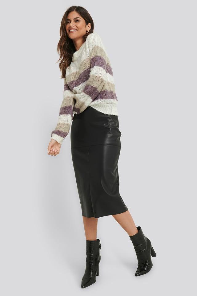 Black Midi PU Skirt