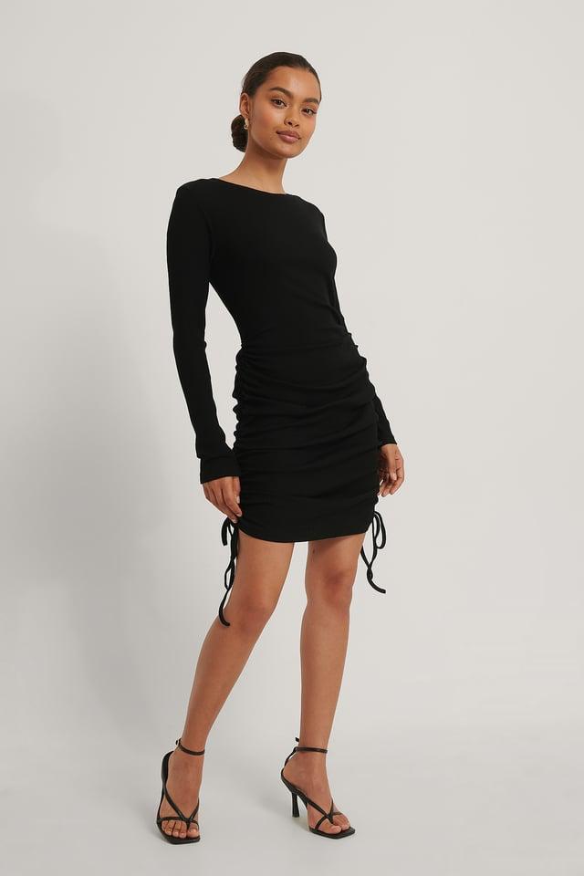 Black Mini Robe À Cordon