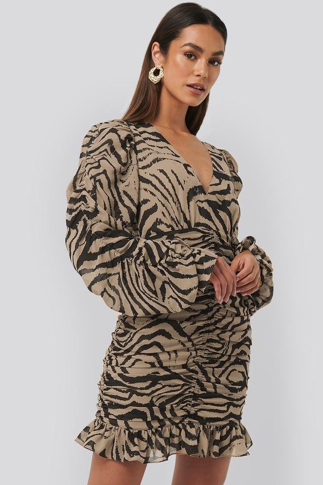 Robe Mini Transparente Froncée Zebra