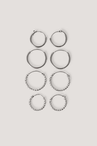Silver Mini Hoop Earring Set