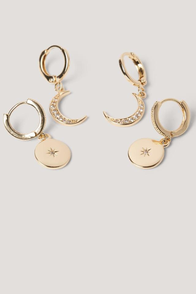 Gold Boucles D'Oreilles Pendantes Mini Lune Et Étoile